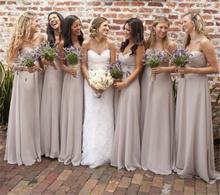 2017 Gray Bridesmaid Dress Long Chiffon Dress Elegant Sweetheart Strapless Sleeveless Bride Robe Girl