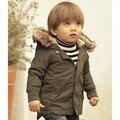 SW050 envío de la venta caliente de invierno de la moda con capucha abrigo niños chaqueta de Algodón gruesa ropa de invierno ropa de los cabritos muchachos capa venta al por menor