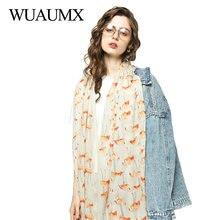 Wuaumx Brand Scarf Women Bird Pattern Hijab Scarf Spring Scarves Autumn Shawls Wraps Muffler 180*90cm sjaal szaliki i chusty fashionable floral pattern yarn scarf muffler cappa deep pink