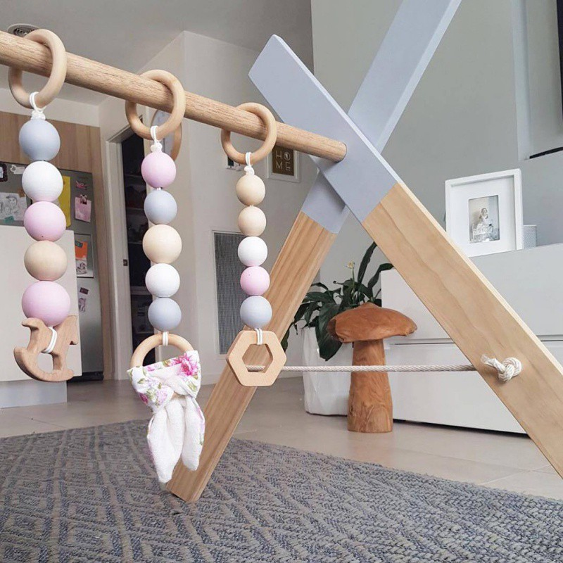 3 Pc Natuurlijke Hout Bead Garland Kids Baby Nursery Room Decor Opknoping Muur Decor Tent Bed Mat Baby Shower Gors Ornament Y