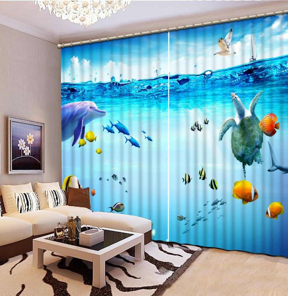2016 Di Alta Qualità Personalizzare La Dimensione Moderna Oceano Paesaggio 2016 Di Modo 3d Home Decor Bella 3d Tende