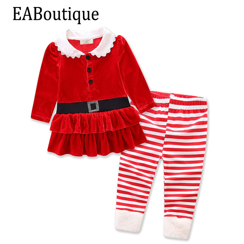 EABoutique Winter New Years Outfit Kids Girls Fashion Santa costume Christmas outfit fleece fabric with leggings vn in the summer of 2016 popular american tv drama aegis bureau agents luminous printing logo backpack trend a surprise gift