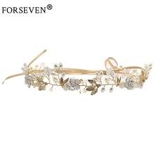 Vintage oro diadema plateada flor hojas accesorios para el cabello de boda novia Tiara diadema mostrar fiesta joyas para el cabello artesanales