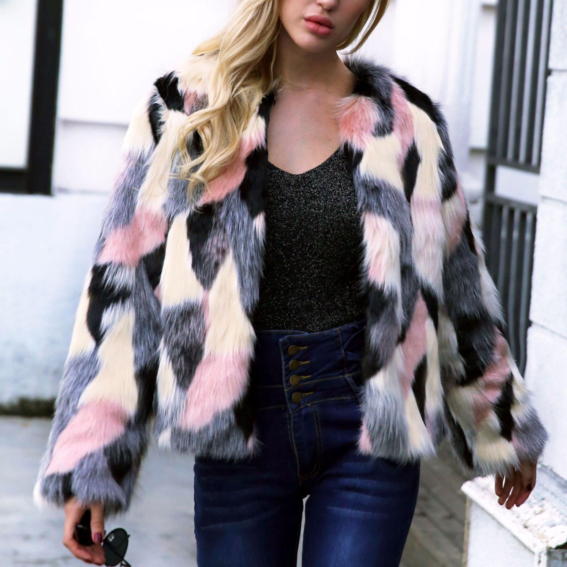 Renard Et F0054 Court Haute Vêtements Femme Manteau Rose Fourrure Imitation Style Couleur Fausse En D'hiver Nouveau De Automne Hit Femmes 5FrqaxFP