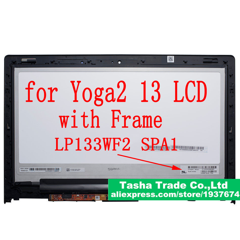 For Yoga 2 13 LCD Touch Digitizer Assembly FHD 1920*1080 B133HAN02.0 LP133WF2 SPA1 For Lenovo Yoga 2 13 LCD Assembly WITH FRAME new 11 6 for sony vaio pro 11 touch screen digitizer assembly lcd vvx11f009g10g00 1920 1080