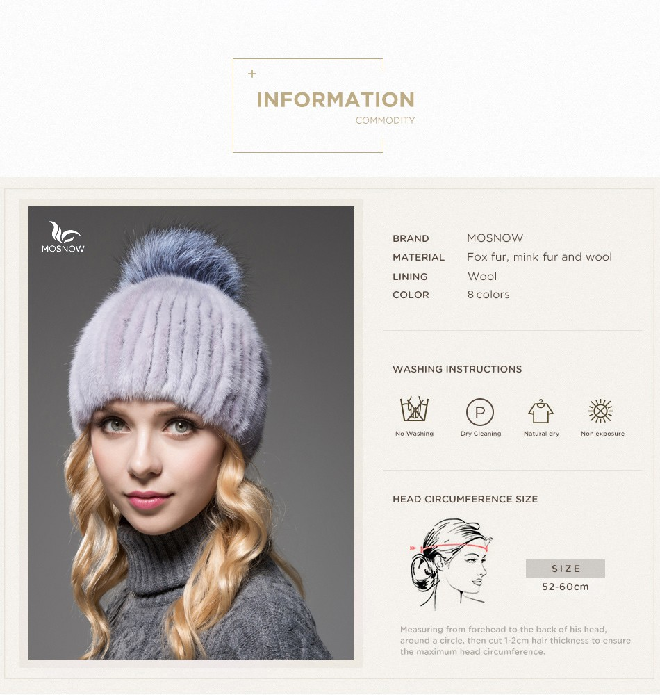 mink fur winter hats for women PCM010 (3)