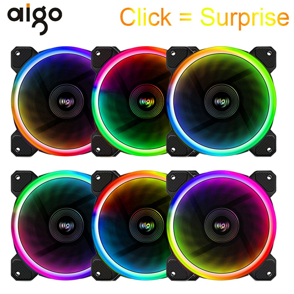 Aigo DR12 PC Cooling Case Fan for Computer 12V Adjustable Led RGB Cooler Fan 120mm Silent Ventilador PC Cooler With IR Remote 80 80 25 mm personal computer case cooling fan dc 12v 2200rpm 45cm fan cable pc case cooler fans computer fans