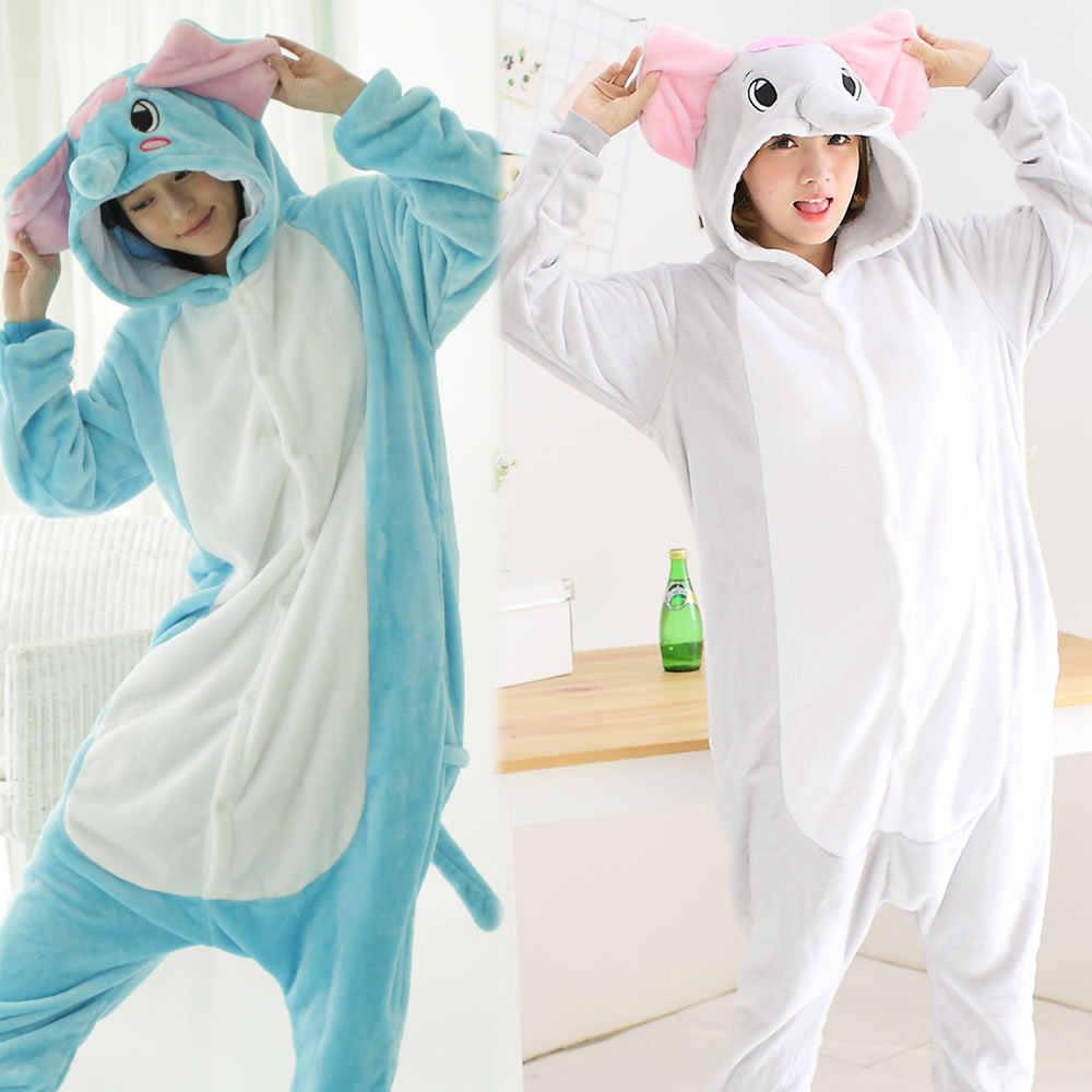 Слон животного пижамы унисекс для взрослых пижамы Костюмы фланелевые пижамы  зимняя одежда милый мультфильм животных Комбинезоны afd58d65c6bc8