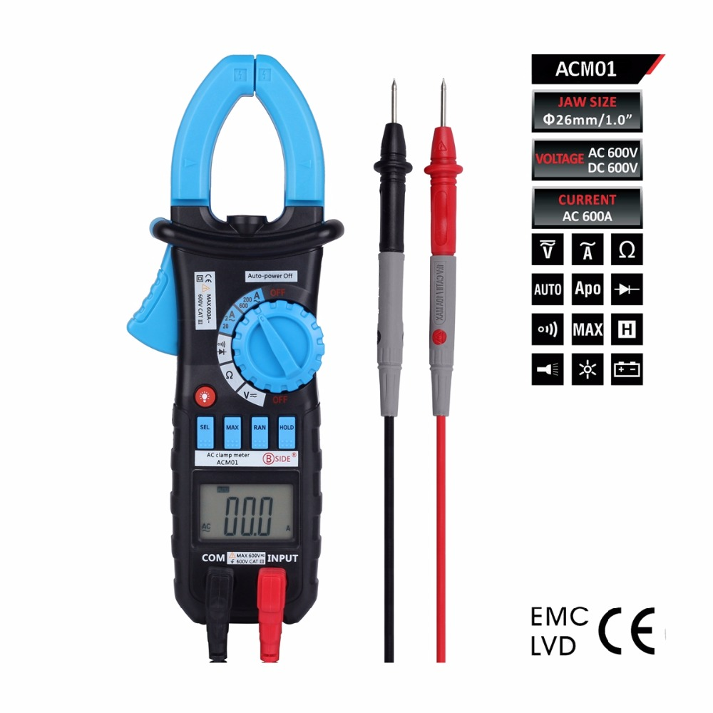 Auto Range Clamp Meter AC DC Current Voltage Resistance Tester Clamp Meters With Backlight Digital Multimeter free shipping electrical instruments 870g dual display clamp meters dc ac resistance digital clamp multimeter