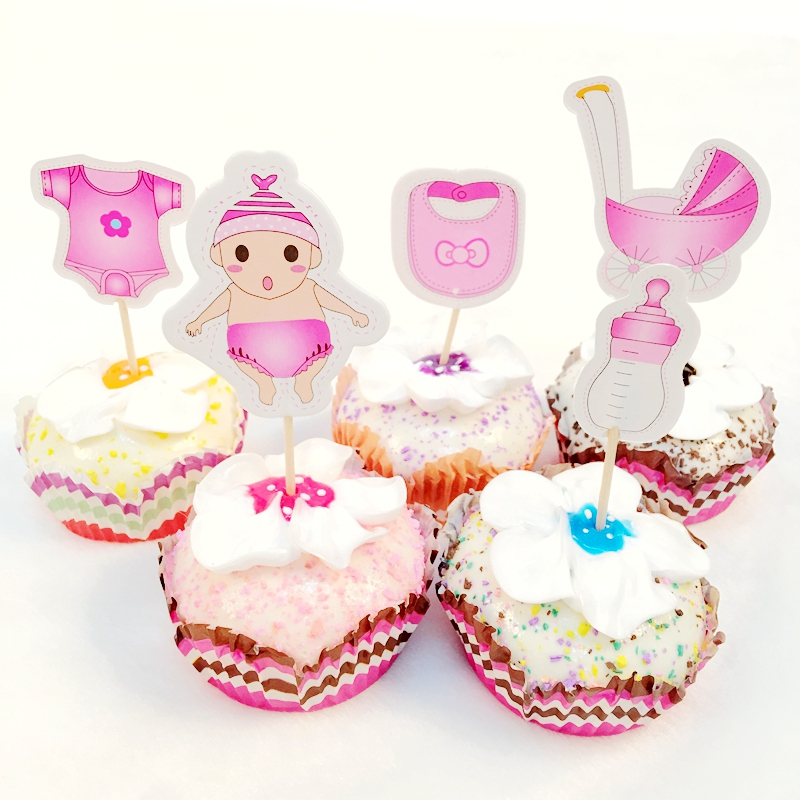 Wholesale 600PCS Baby Bottle Strollers Set Cupcake Toppers Pick children Birthday Party Decoration Cartoon Cake flags supplies