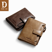 DIDE high quality Wallet Men Leather Genuine Men's Vintage Cowhide Big Capacity Short Purse With Zipper Coin Pocket 829