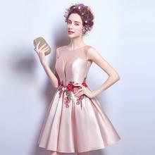 Mode schöne rosa durchsichtig sexy rose blume stickerei kurzes kleid 2468 frauen Cocktailkleider größe 2-14