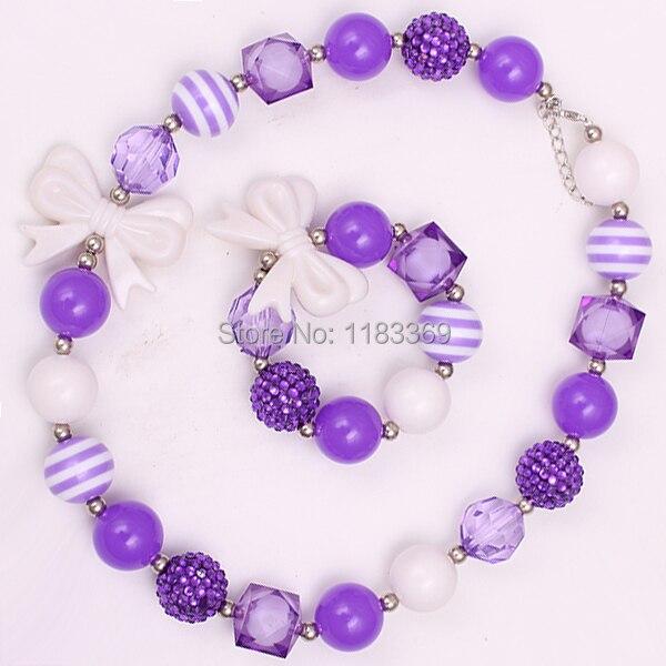 purple color beaded chunky bubblegum necklaces
