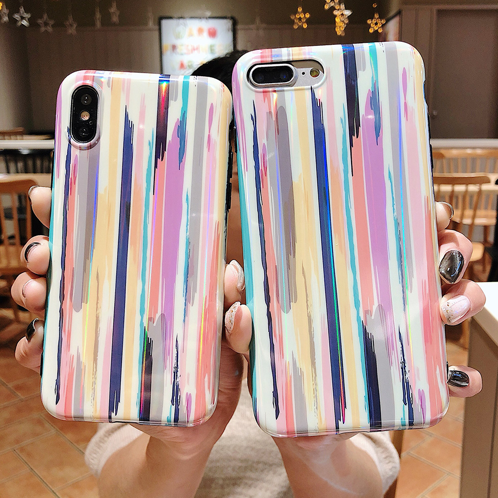 KIP7P1204_3_Aurora Laser Crayon Rainbow Case for iPhone 7 8 Glossy Soft Silicone Case For iPhone X XS 6S 7P 8 Plus Phone Cover