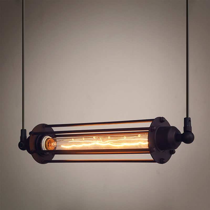 Industrial pendant lights loft suspension luminaire for Suspension luminaire cage