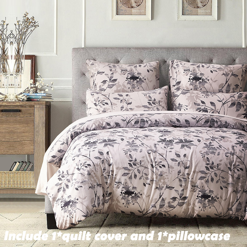 EHOMEBUY Modern Bedding Sets Superfine Fiber 1 Pillowcase And 1 Quilt Cover Soft Comfortable Pastoral Leaves Ink Style