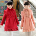 New 2017 Winter High Quality Children Wear Baby Girls Princess Thick Warm Outerwear Cloth Woolen Collar Wool Coat Girl Overcoat