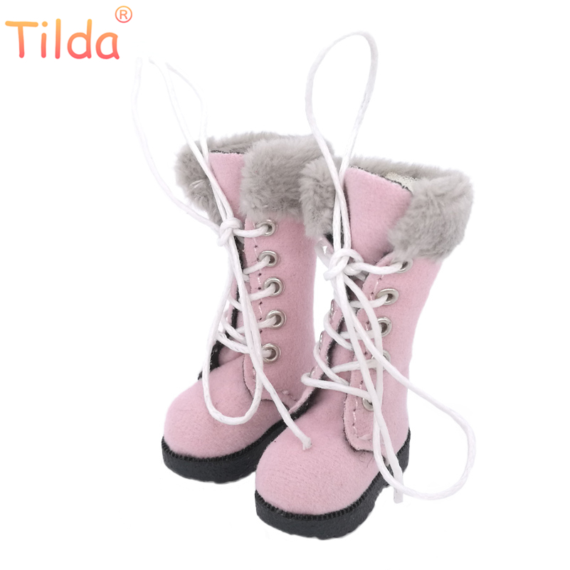 Tilda 1/6 Doll Boots Shoes For Blythe BJD Doll,Fashion 3.2cm Mini Winter Style Leather Shoes for Blyth Toys Dolls Accessories exclusive handsome martin boots for bjd 1 3 sd10 sd13 sd17 uncle ssdf id ip eid big foot doll shoes sm9