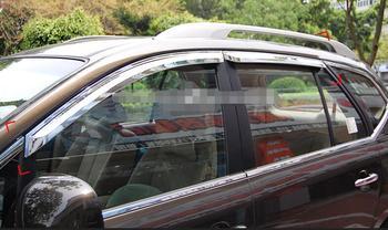 Sun visor 4 Pcs Plating chrome Car Window Visor Wind Deflector Sun Rain Guard Defletor for Carens 2015+
