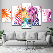 Canvas Painting watercolor zebras animal picture 5 Pieces Wall Art Modular Wallpapers Poster Print Home Decor