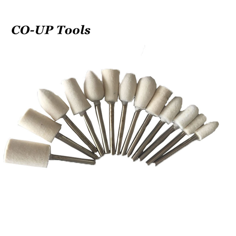 13pcs/Set Super Felt Wool Grinding Head Rotary Tools Playing Fine Jewelry Jade Metal Polishing Drill Bits 3mm Shank  цены