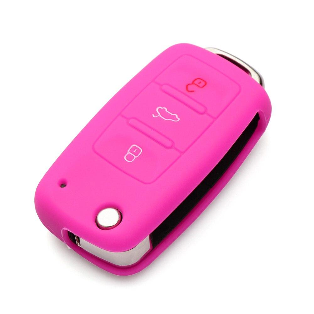 Силиконовый чехол для ключей автомобиля для Volkswagen polo passat golf 5 6 jetta tiguan Gol CrossFox Plus Eos Scirocco Beetle, автомобильный Стайлинг - Название цвета: Розовый