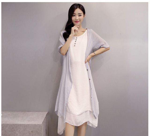 two pcs dress and outwear sets o-neck design casual summer  Linen dress Solid Color Pleated Fashion linen dress for womens/girl