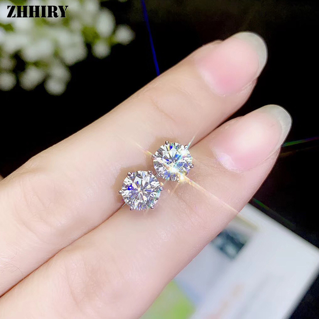 Zhhiry real moissanite 18k brincos de ouro branco para as mulheres parafuso prisioneiro brinco total 2ct d vvs1 pedra preciosa com certificado jóias finas 3