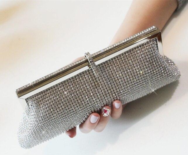 Ženy spojka stříbrná rhinestone večerní taška řetězce dívka strana kabelka ženy svatební den clucth taška dáma Neformální spojka