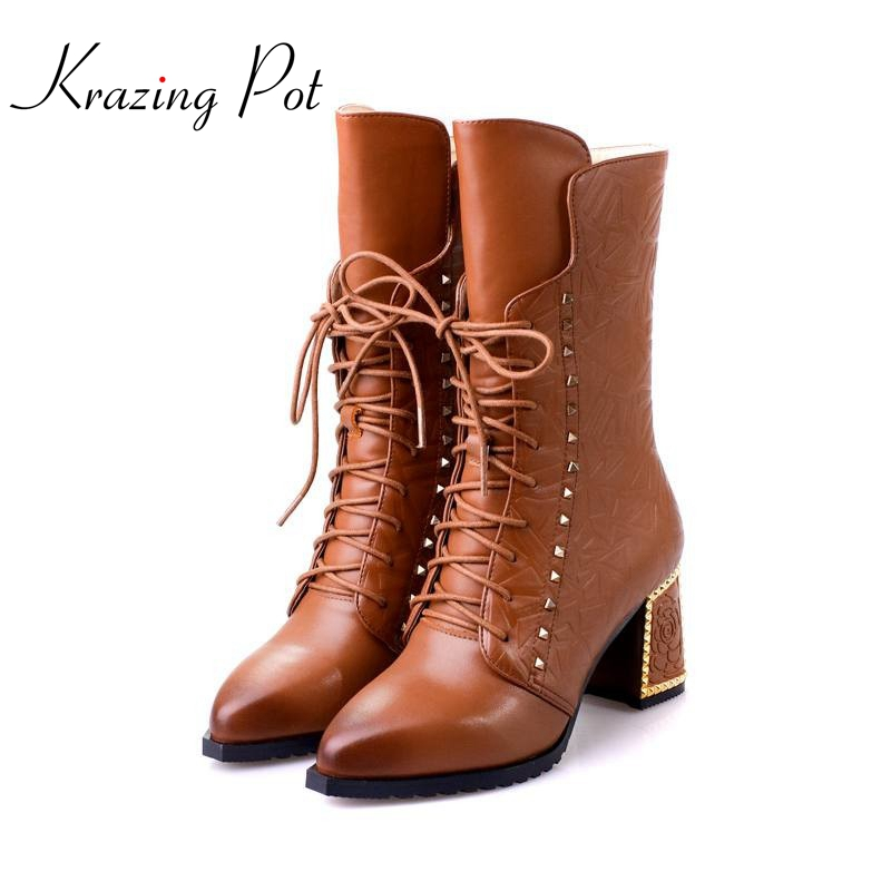 New winter fashion pointed toe lace up genuine leather printing flower zip rivets women ankle boots thick heel Chelsea boots L41 sfzb new square toe lace up genuine leather solid nude women ankle boots thick heel brand women shoes causal motorcycles boot