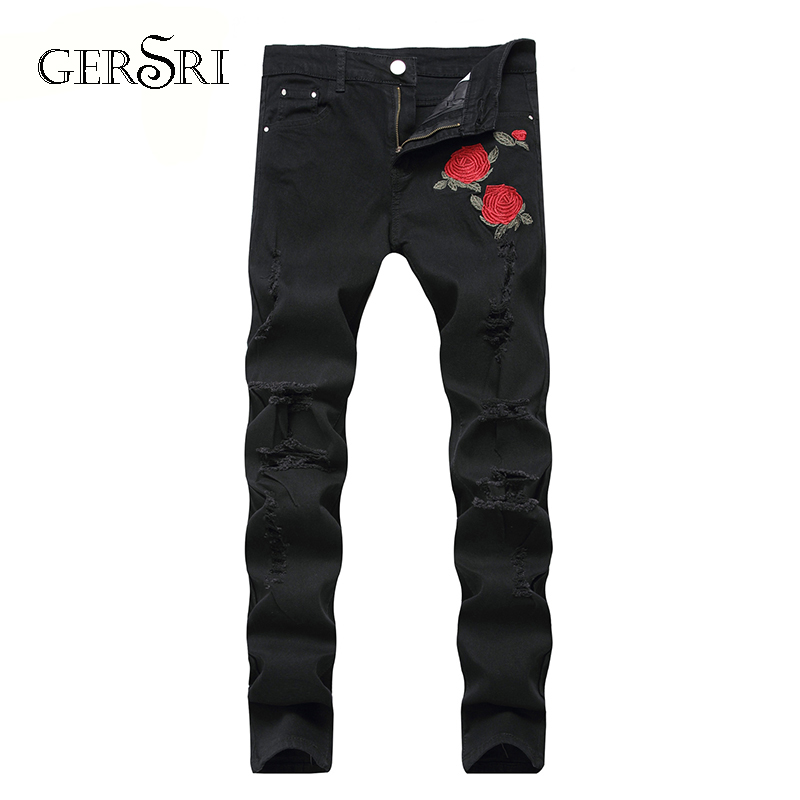 Gersri Fashion Ripped Jeans Men Patchwork Flower Printed Knee Hole Pants Man Cowboys Demin Pants Male Dropshipping
