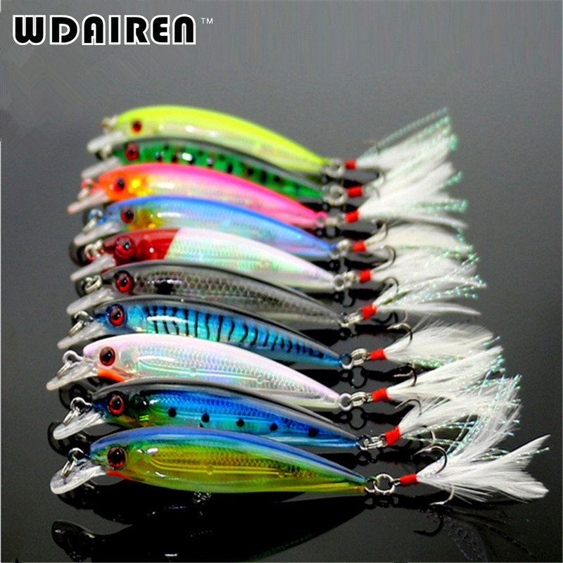 10Pcs/lot Fishing Lure Wobbler Laser Minnow 6# Feather Hook Plastic Artificial Hard Lifelike Bait Colors 9cm-8g FA-181 5pcs hard plastic fishing lure wobbler minnow squid tentacle diving trolling bait 14cm 40g hook size 1 0 free shipping