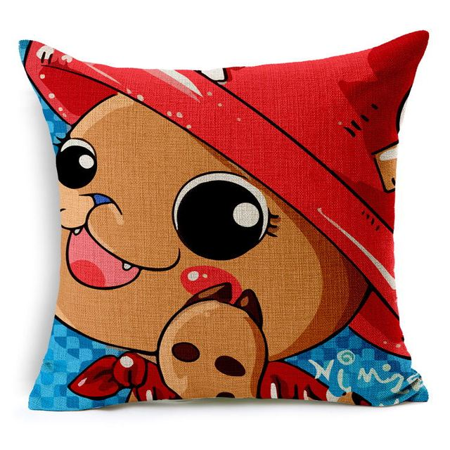 Tony Tony Chopper Animation One Piece Cartoon Cute Hand Painted Pillows  Emoji Euro Home Decor