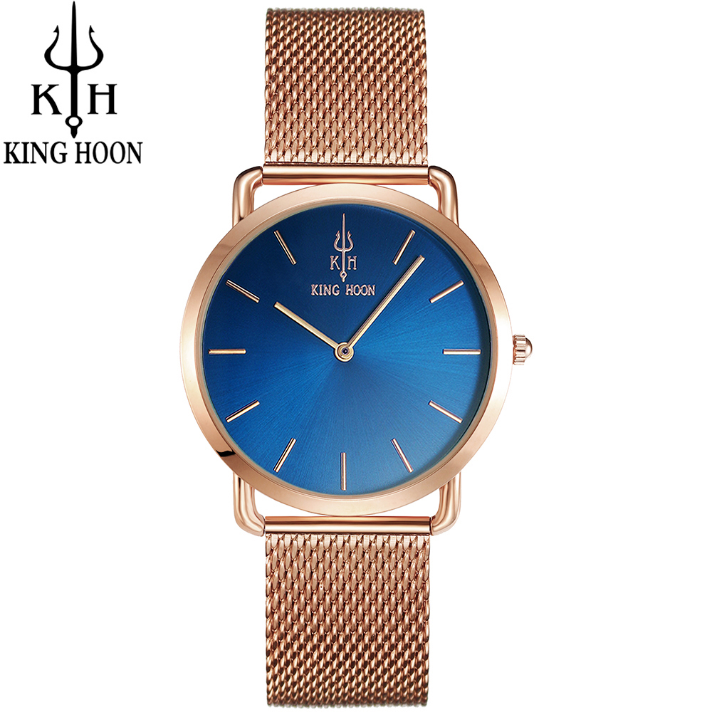 KING HOON Women Watches Brand Top Luxury Ultrathin 38mm Casual Rose Gold Quartz Wristwatches Montre Femme Relojes watch women 2018 women watches top brand luxury king hoon ultra thin gold steel mesh watches women dress quartz watch bracelet orologio