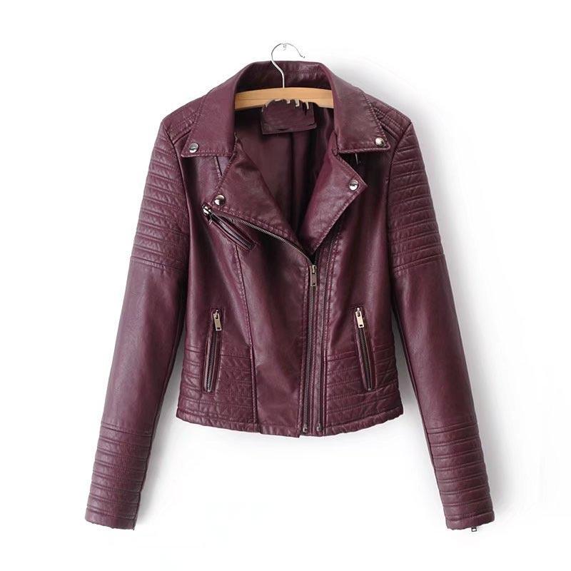 2018 Autumn New Fashion Women Moto Jacket Coat Turn-Down Collar Biker Streetwear Long Sleeve Motorcycle Faux   Leather   Jacket