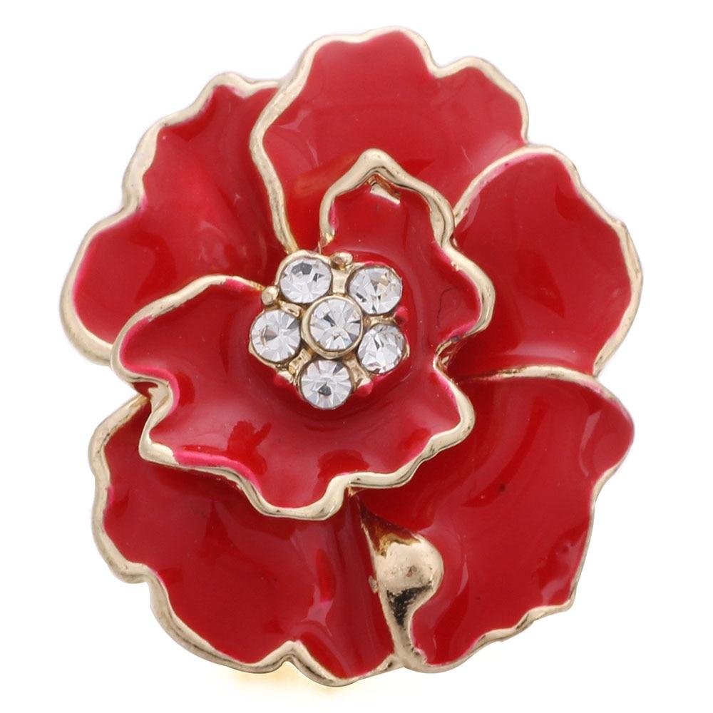 10 шт./лот новые пуговицы с кристаллами и красными цветами ювелирные изделия очаровательные пуговицы для браслета 18 мм Ювелирные изделия для...