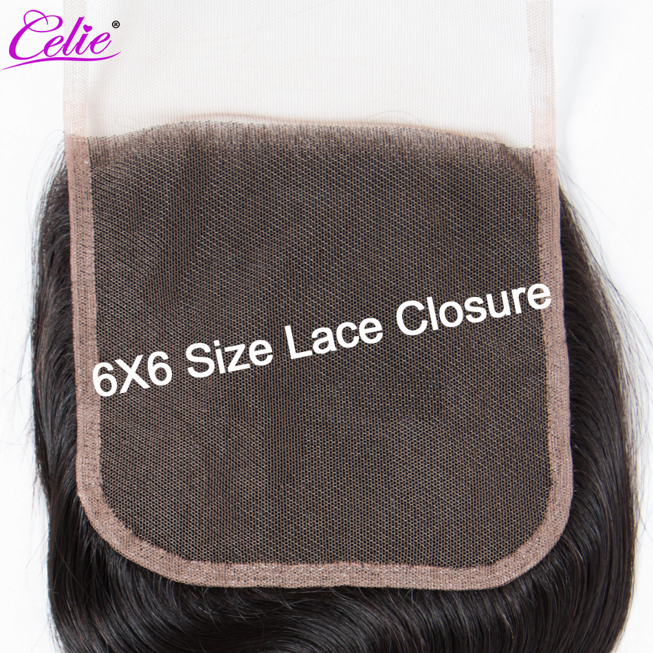 Image 3 - Celie 6x6 Lace Closure Straight Human Hair Closure With Baby Hair Free/Middle/Three Part Remy Brazilian Hair Lace Top Closure-in Closures from Hair Extensions & Wigs