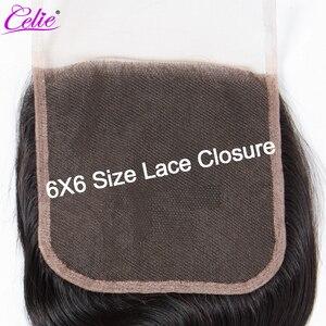 Image 3 - Celie Cierre de encaje de cabello humano liso, cierre de pelo humano, 6x6, sin pelo de bebé/medio/tres partes, pelo brasileño Remy, cierre superior de encaje