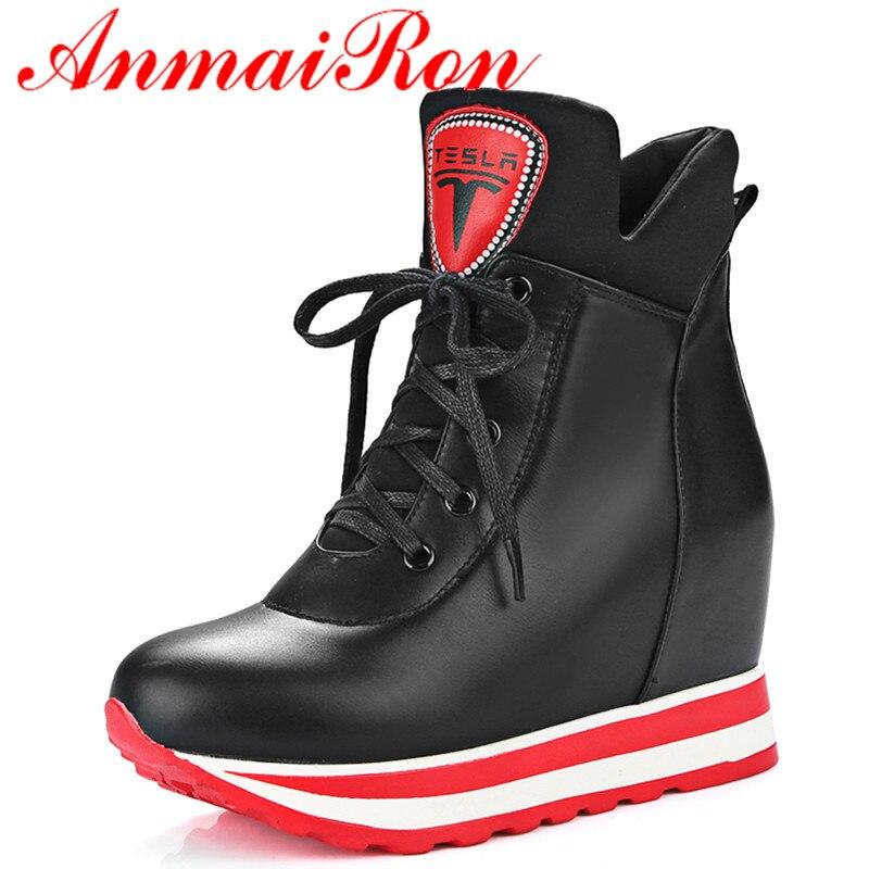 afbae7ec5 ANMAIRON New Lace-up Sexy Vermelho Botas de Salto Alto Tornozelo para As  Mulheres Tamanho Grande 34-42 Sapatos de Plataforma mulher Outono & Inverno  Botas