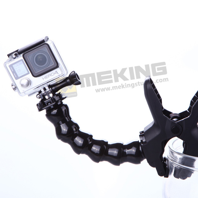 Hot Sell GoPro Adjustable Jaws Flexible Arm Flex Clamp Clip Universal Mount Go pro Interface fully for GoPro Hero 4 3+ 3 2 1 diy flex extensible flex arm magic extensive joint mount cell for gopro hero 4 3 3 2 1 sj4000