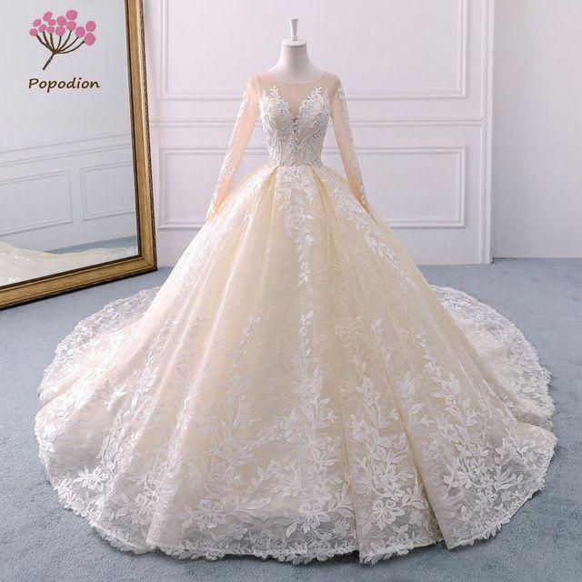 926f27674 Popodion champán manga larga corte retro cola boda vestido de novia vestido  de boda vestido de