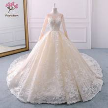 Popodion champagne long sleeve court retro tail wedding dress bride dress wedding dress vestido de noiva WED90442(China)
