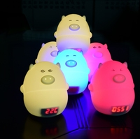YINGTOUMAN 7 Colours Pig LED USB Children Animal Night Light Silicone Soft Cartoon Baby Nursery Lamp Breathing LED Night Light