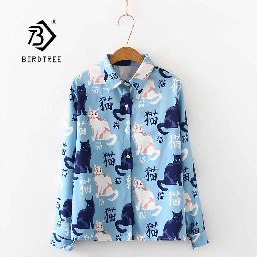 New Arrival Women Cartoon Cat And Chinese Words Print Long Sleeve Blue Shirt Turn-Down Collar Chiffon Blouse Chic Top T97508F