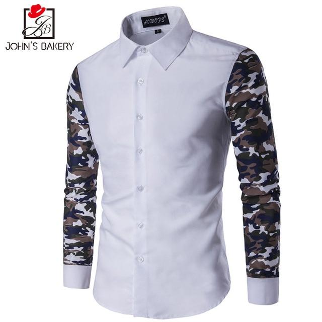 91e1c91d55 17 Nova Marca de Moda Homens Camisa Grande Camisa Camuflagem Vestido Camisas  de Manga longa Slim