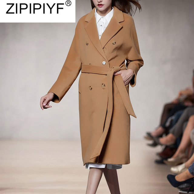 2018 Autumn Winter Streetwear Female Double-breasted Overcoat Long Sleeve Turn-down Collar Slim Fit Women Long Wool Coat C3277