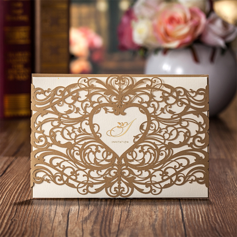 50Pcs Elegant Red Gold Love Heart Laser Cut Wedding invitations Kit Blank Printing Invitation Cards Set Convite casamento design laser cut lace flower bird gold wedding invitations kit paper blank convite casamento printing invitation card invite