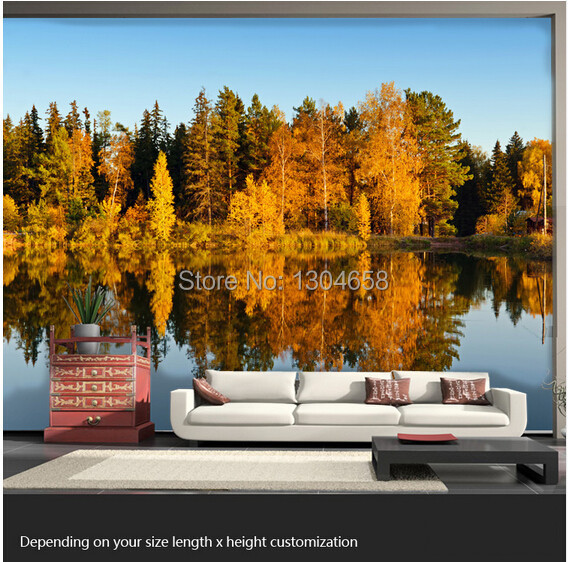 Free shipping custom 3D large mural living room sofa bedroom TV backdrop wallpaper autumn nature forest tree rural scenery free shipping 3d personality wallpaper sofa tv coffee house bar backdrop living room bedroom bathrom wallpaper mural