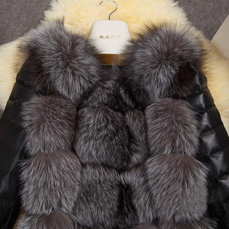 Renard Longues Mode Noir Automne Casual Nouvelle Faux Fourrure Femmes Gilet Feminino Manteau Casaco Manches 2018 Hiver De pHFH7x1