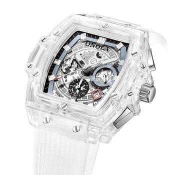 Relojes de pulsera de lujo para hombre, relojes de pulsera de cuarzo transparente, resistentes al agua, multifunción, relojes cuadrados blancos de moda